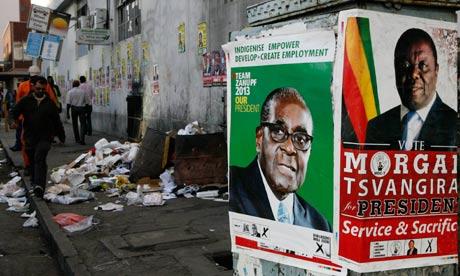 MDG : Zimbabwe elections : Morgan Tsvangirai and Robert Mugabe election posters