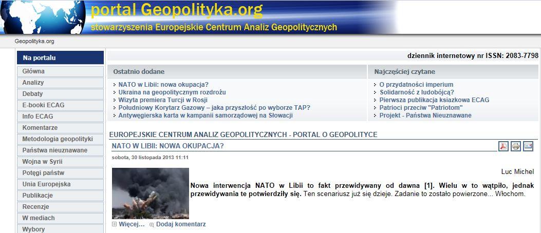 LM.NET - EN BREF opération de l'OTAN en Libye (2013 11 30) POL