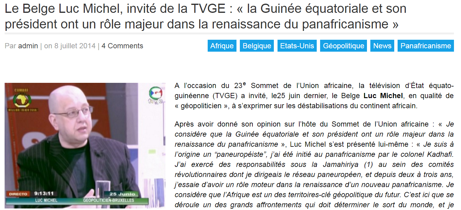 Le Belge Luc Michel  invité de la TVGE   « la Guinée équatoriale et son président ont un rôle majeur dans la renaissance du panafricanisme »   ASSOCIATION FRANCE GUINEE EQUATORIALE