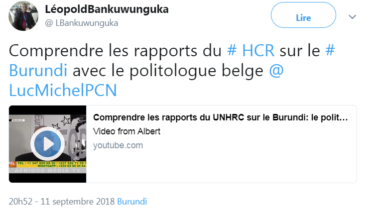 z - # LUC MICHEL- VU SUR TWITTER - « COMPRENDRE LES RAPPORTS DU UNHCR SUR LE BURUNDI » …