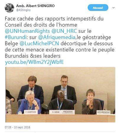 PCN-SPO - REVUE DE PRESSE- L'AMBASSADEUR DU BURUNDI A L'ONU PARLE DE LUC MICHEL SUR TWITTER