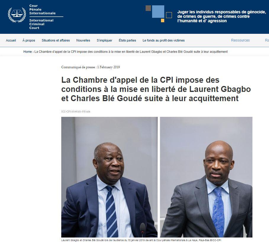 PANAF.NEWS - Gbagbo libéré ss conditions (2019 02 01) FR
