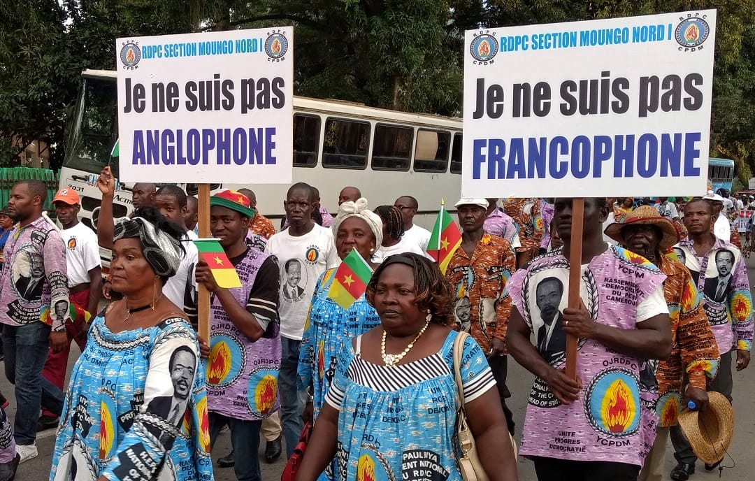 Demonstrators carry banners as they take part in a march voicing their opposition to independence or more autonomy for the Anglophone regions, in Douala